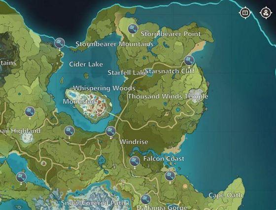 Карта удара Геншина: Мондштадтские святилища глубин (изображение через miHoYo)