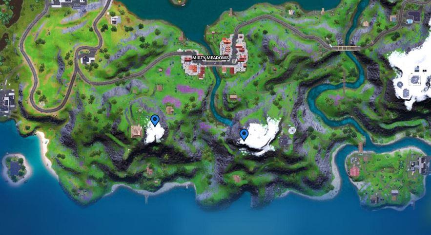 Fortnite: где разместить устройства связи инопланетян на карте горных вершин