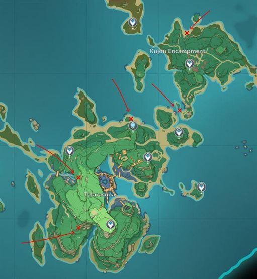 Карта со всеми деревьями громовой сакуры в Канназуке (Изображение через Sportskeeda)