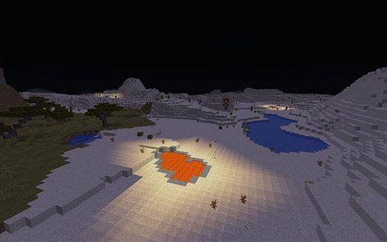 Лава излучает свет (Изображение из Minecraft)