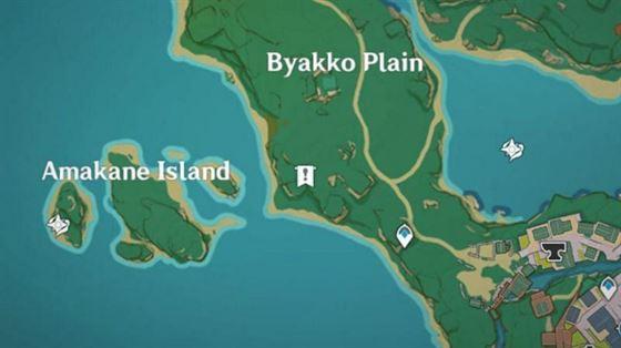 Расположение на карте старого каменного сланца в колодце Конда (изображение через Genshin Impact)