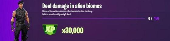 Эпическая задача Fortnite «Нанести урон инопланетным биомам» (Изображение через Twitter / iFireMonkey)