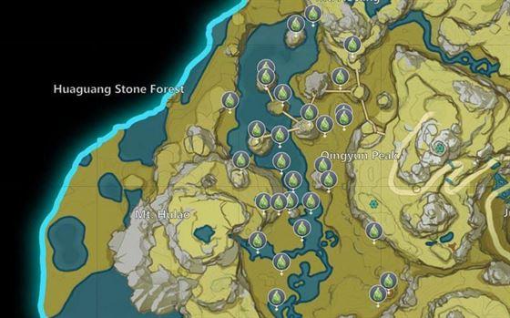 Расположение на карте чар Genshin Impact's Moonchase Charms (Изображение с miHoYo)