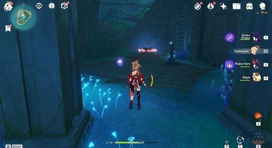 Идите под землю, пока не дойдете до комнаты с Таинственным Столбом и Зондом Удар молнии (Изображение через Genshin Impact)