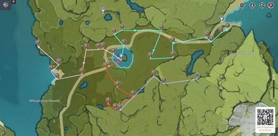 Все 30 сундуков Таинственной Луны в долине Старфелл, Мондштадт (изображение с Genshin Impact)